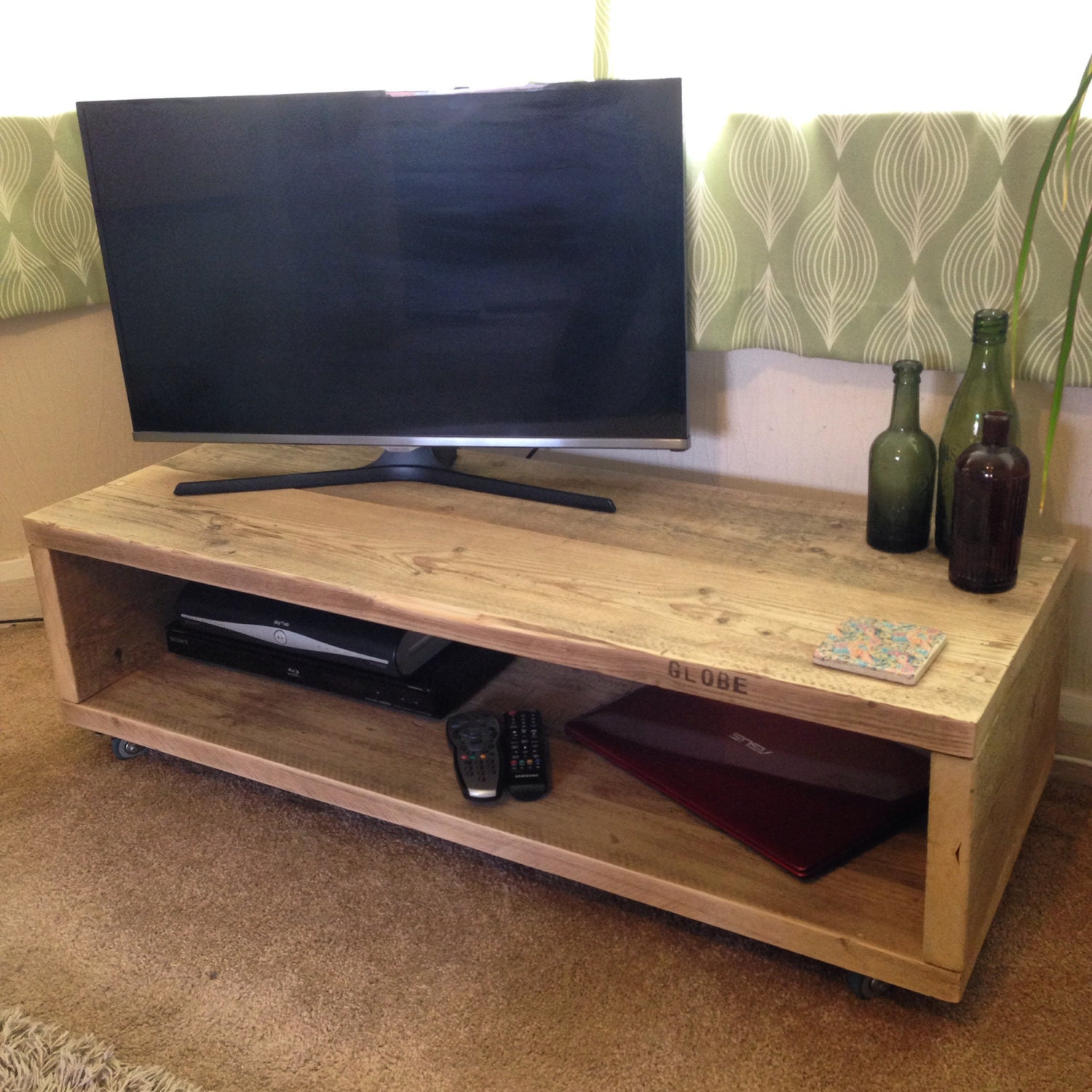 Scaffold board coffee table  TV unit  upcycled from reclaimed rustic scaffold timber