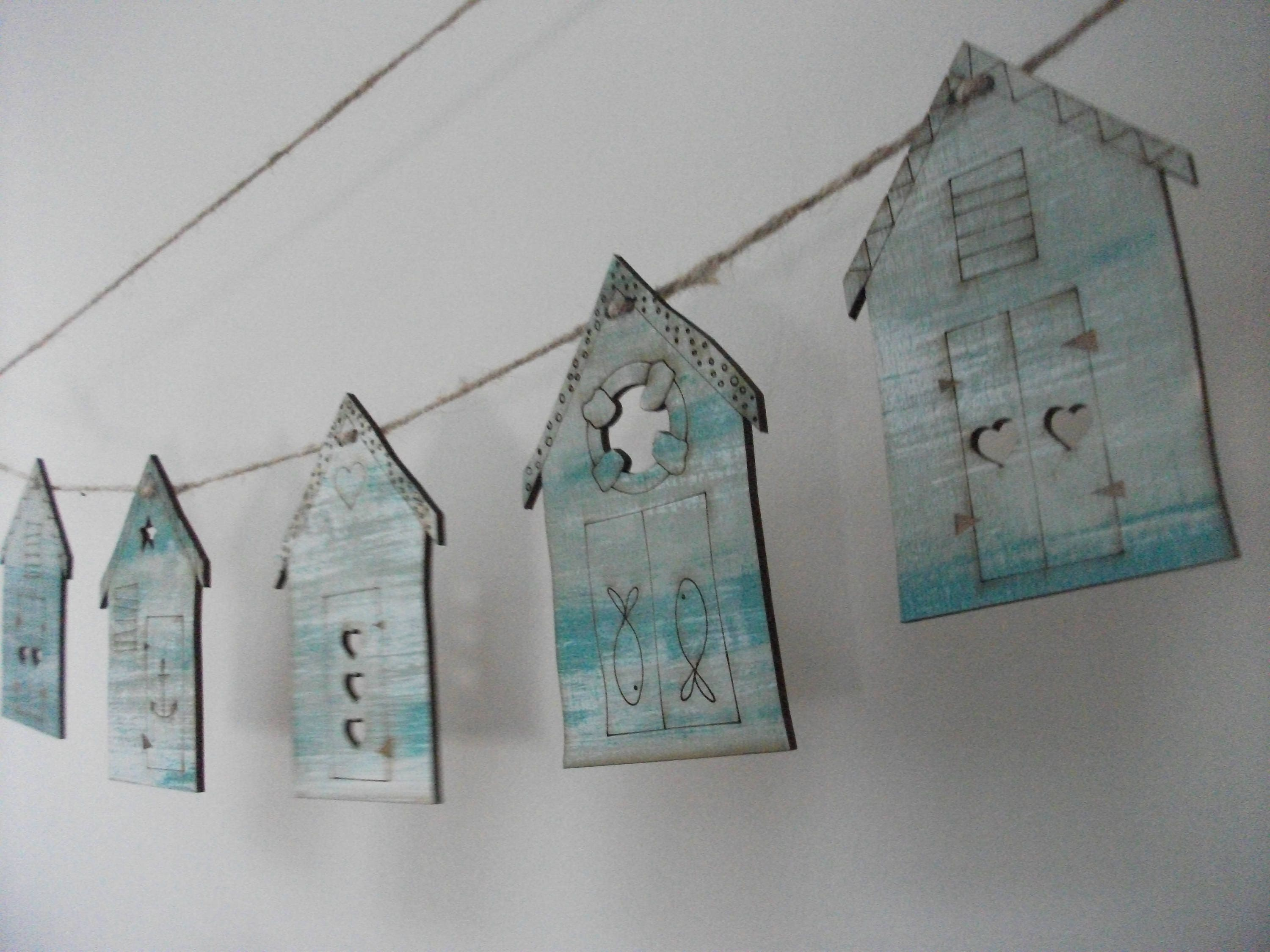Beach Hut Bunting  Shabby Chic  duck egg blue  wooden  laser cut  engraved