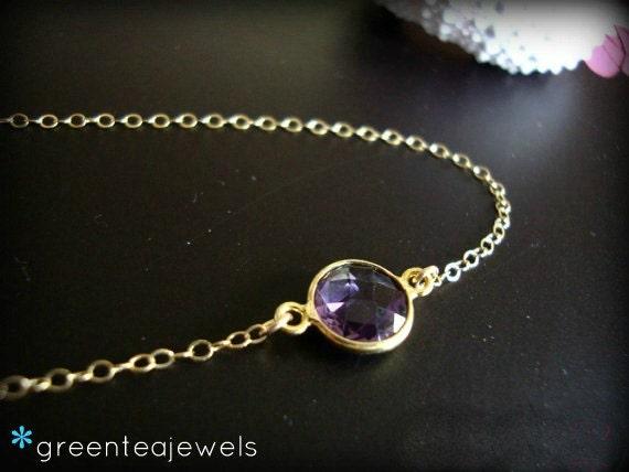 mon amie - amethyst bezel necklace - simple gemstone jewelry - LAST ONE