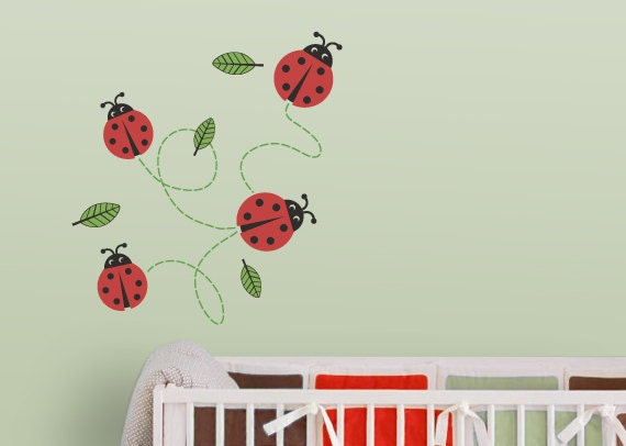 Ladybugs Nursery Wall Decal (Ladybug Wall Decal, Ladybug Decal ...