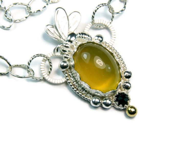 sterling silver busy bumble bee necklace by