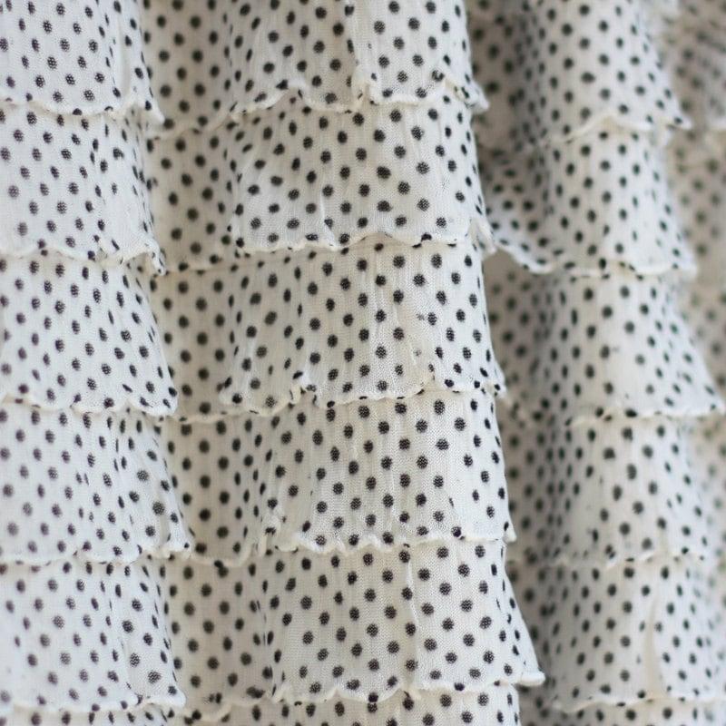 NEW Tuxedo Pin Dot Cascading Ruffle Fabric, 1 yd total