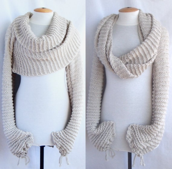 Free Crochet Pattern For Shawl With Sleeves : Bolero shawl scarf with sleeves at both ends in light by ...