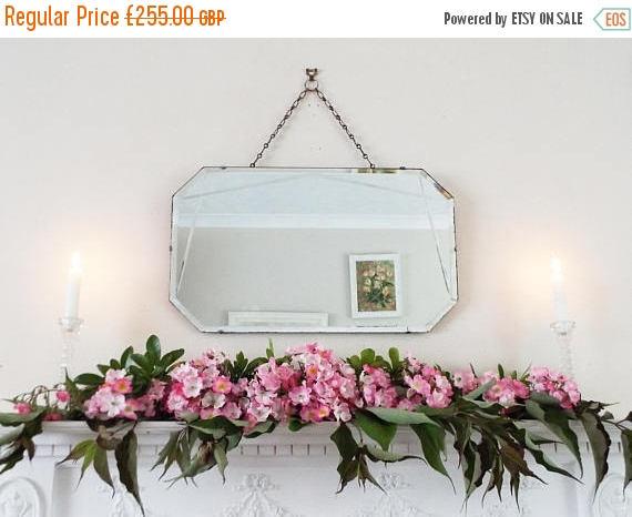 SALE Antique Mirror Vintage Mirror Art Deco mirror frameless mirror Bevelled edge bevelled mirror M225