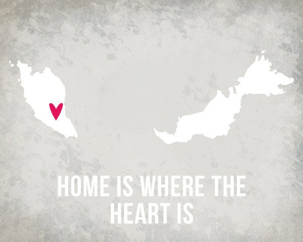 Malaysia Home is Art Print 8 x 10 inch Travel Map I heart Asia SALE buy 2 get 3 - EinBierBitte