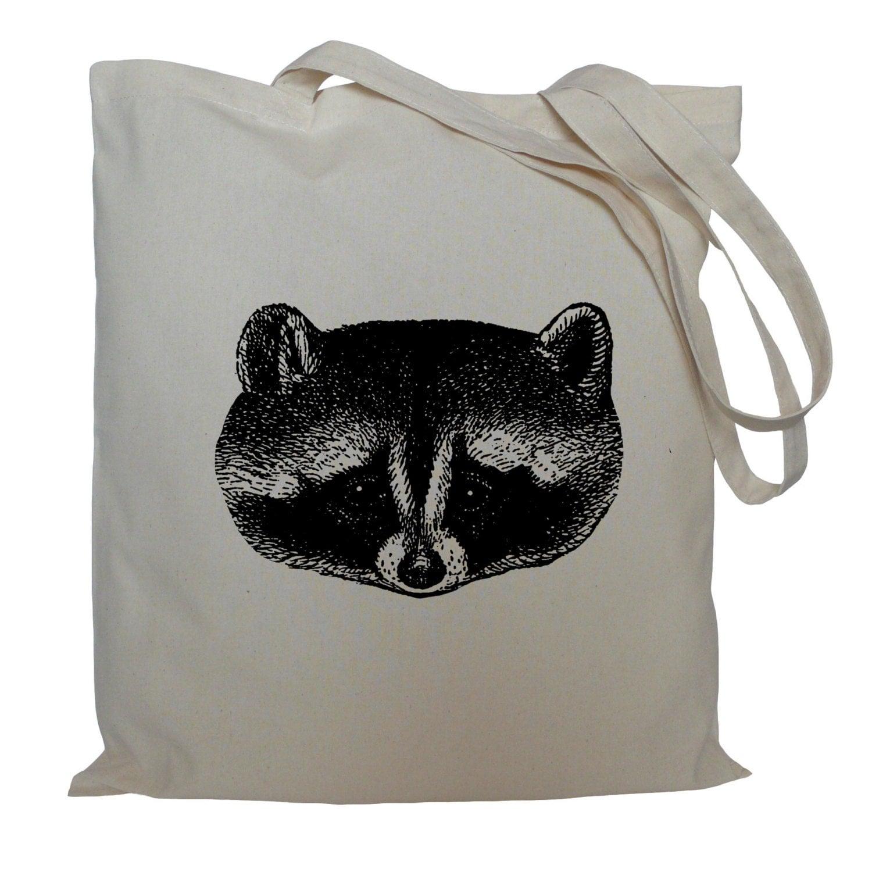 Tote bag drawstring bag cotton bag material shopping bag raccoon face shoe bag animal market bag