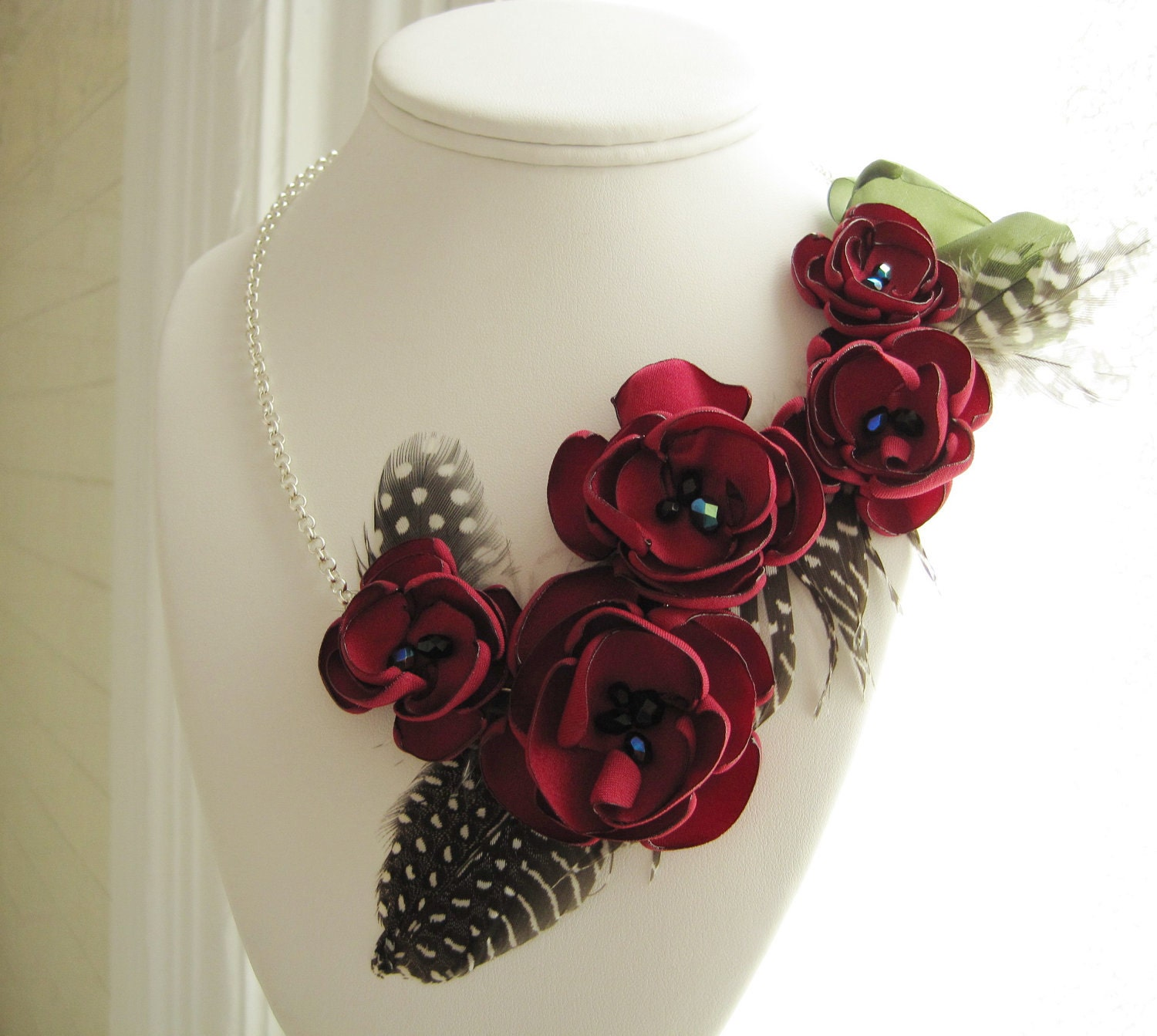 fabric flower necklace asymmetrical by MariaLouiseHightoo on Etsy