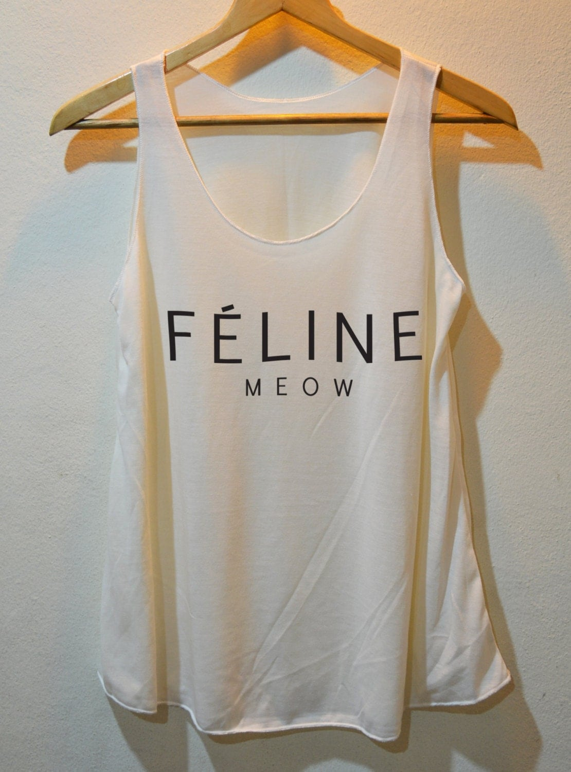 Feline Meow Inspired printed Shirt Tank Top Vest Ladies Small Large