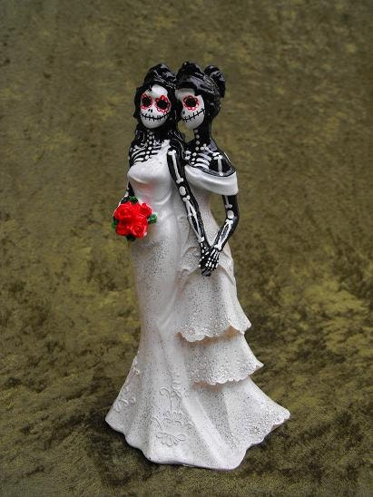 day of the dead wedding cake topper two women
