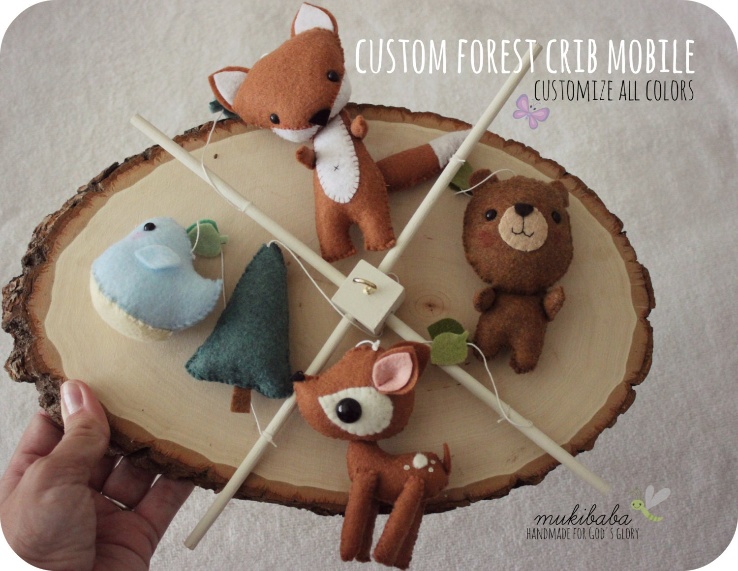 Custom color mobile baby mobile baby crib mobile by mukibaba for Woodland animals nursery mobile