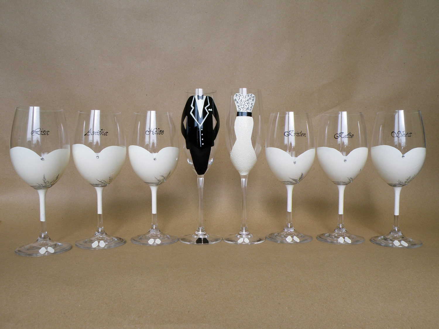 hand painted bridal shower party glasses wine glasses by pastinshs. Black Bedroom Furniture Sets. Home Design Ideas