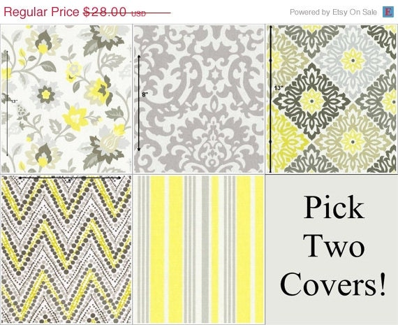 15 Inch Throw Pillow Covers : Two Yellow and Grey Pillow Covers 16 x 16 by CastawayCoveDecor