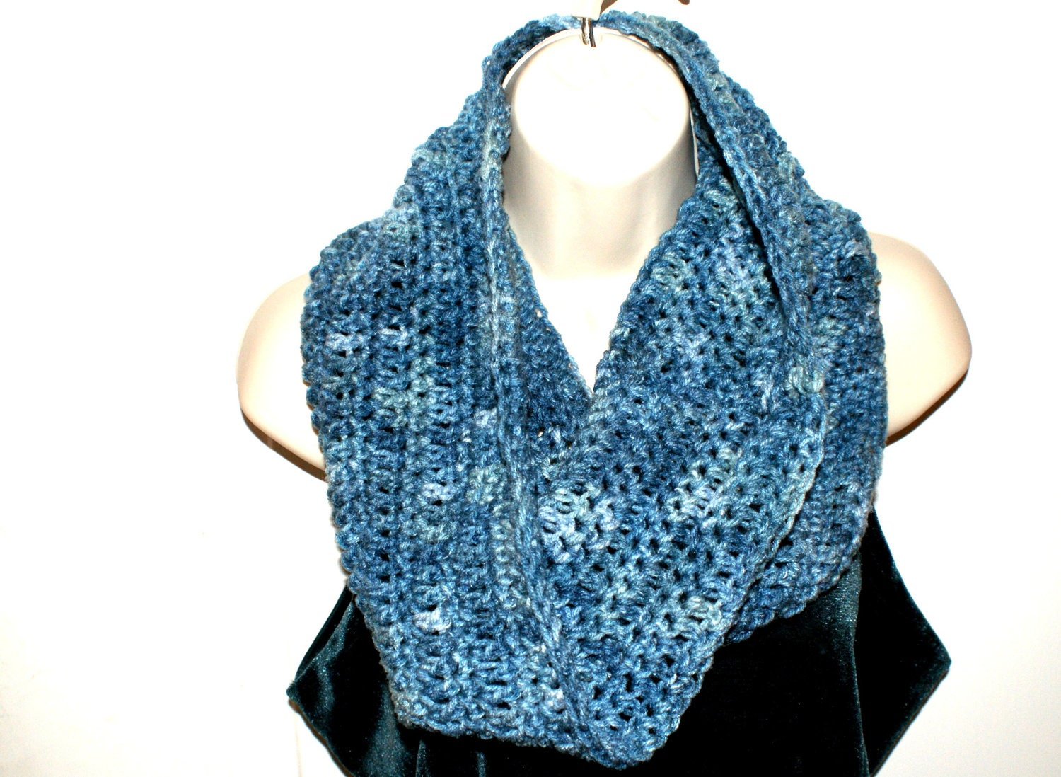 Crochet Mens Scarf : Womens Cowl, Blue Crochet Cowl, Mens Infinity Scarf, Winter Neckwarmer ...