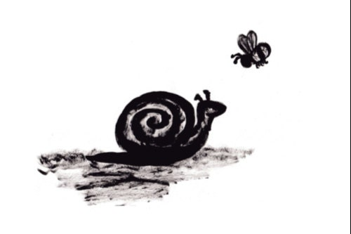 Small Print - Simple Snail and Bumble Bee Print in Black and White - TheEvergreenNest