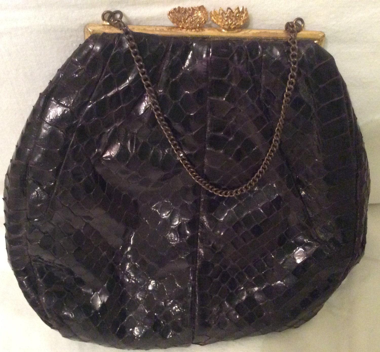 Vintage Snakeskin purse handBag  Evening Purse small bag croc brown Clutchfifties retro animal skinleather