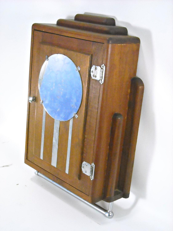antique art deco medicine cabinet mahogany chrome mirror 1920s wall