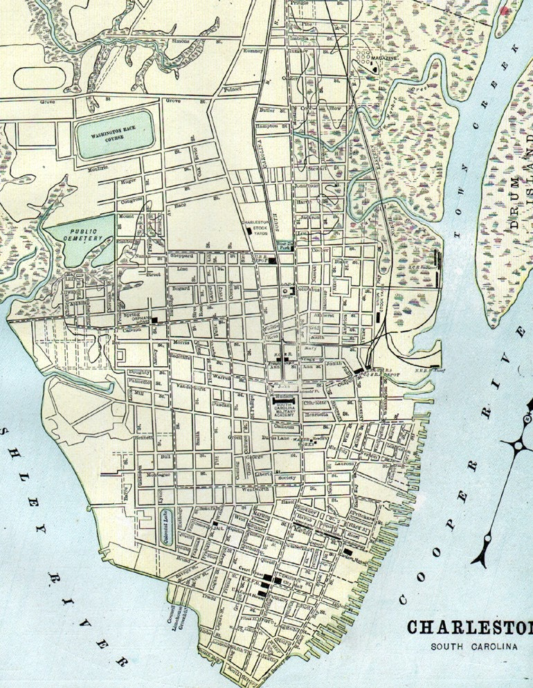 Antique 1901 City Street Map Of Charleston By