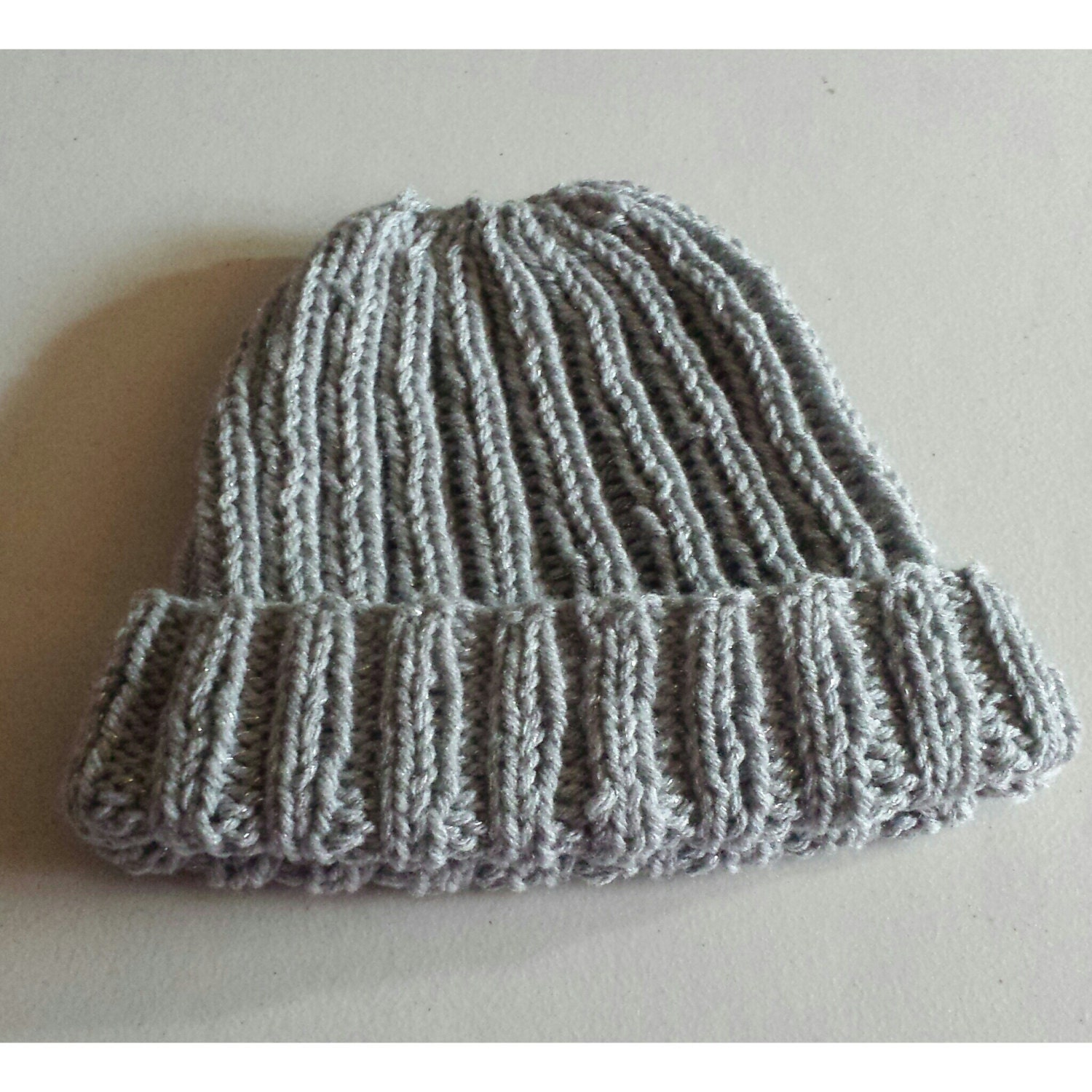 Knitted Watch Cap Pattern : Items similar to Knit Watch Cap -Adult Female Sized -Rib Pattern -Silver Gray...