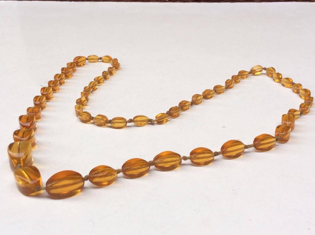 Amber Glass Graduated Flapper Necklace Art Deco Vintage 1930s  1950s