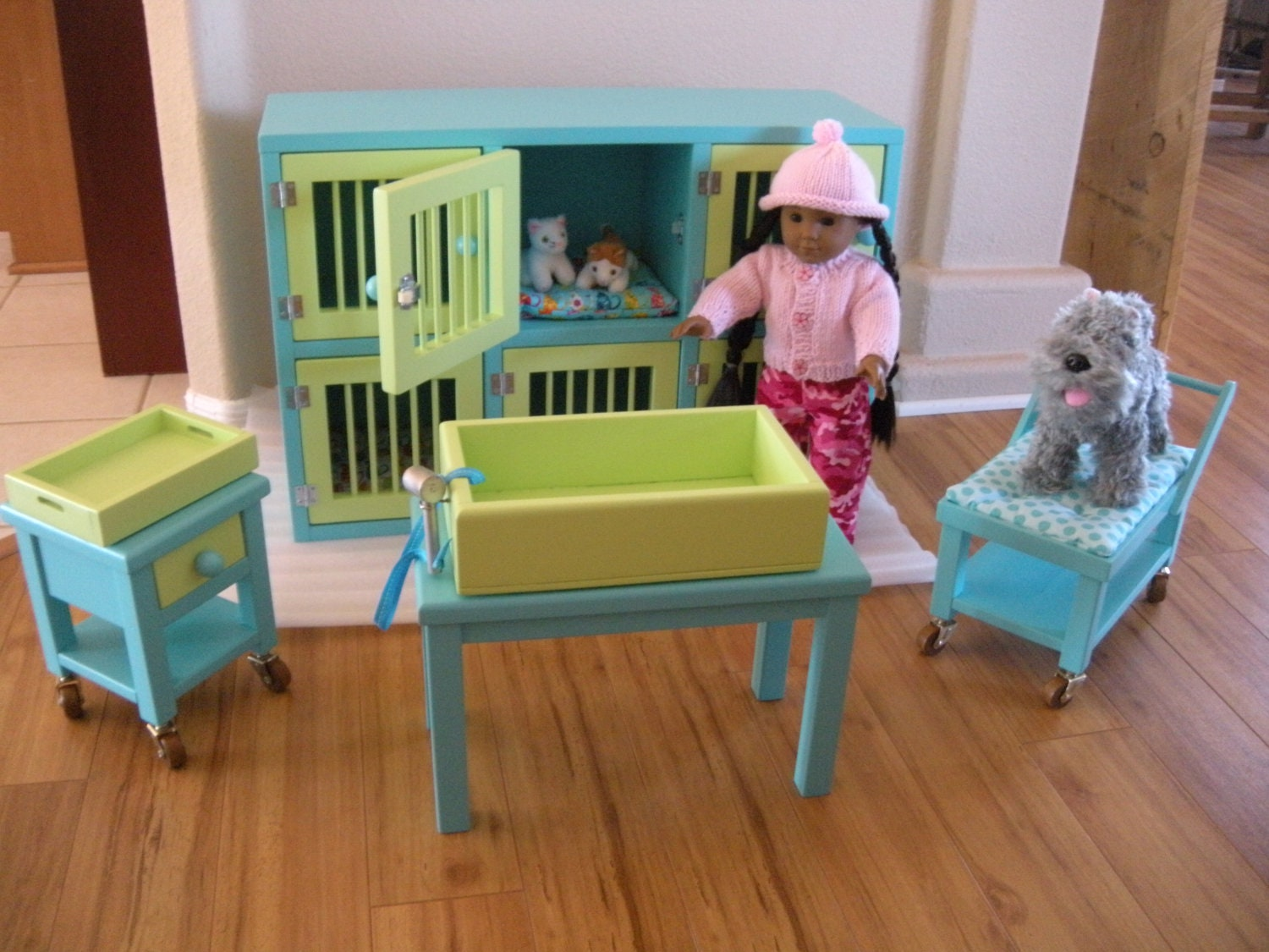 Cats On An American Girl Doll Bed