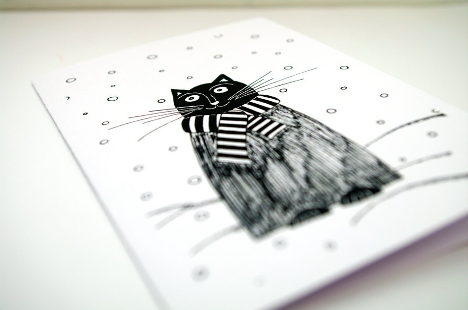 Christmas Card with Cat Holiday greeting card Black and white art Winter happy birthday animal card / Snow / Merry Christmas Joy Warm Wishes - AstaArtwork