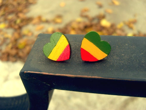Caribbean colored heart shaped wooden post earrings.