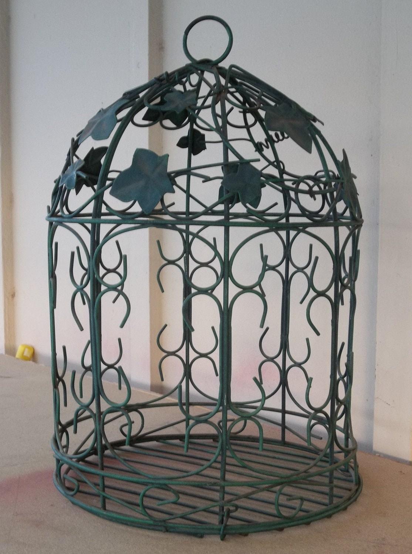 Large Vintage Bird Cage Hanging Green Iron by retrosideshow