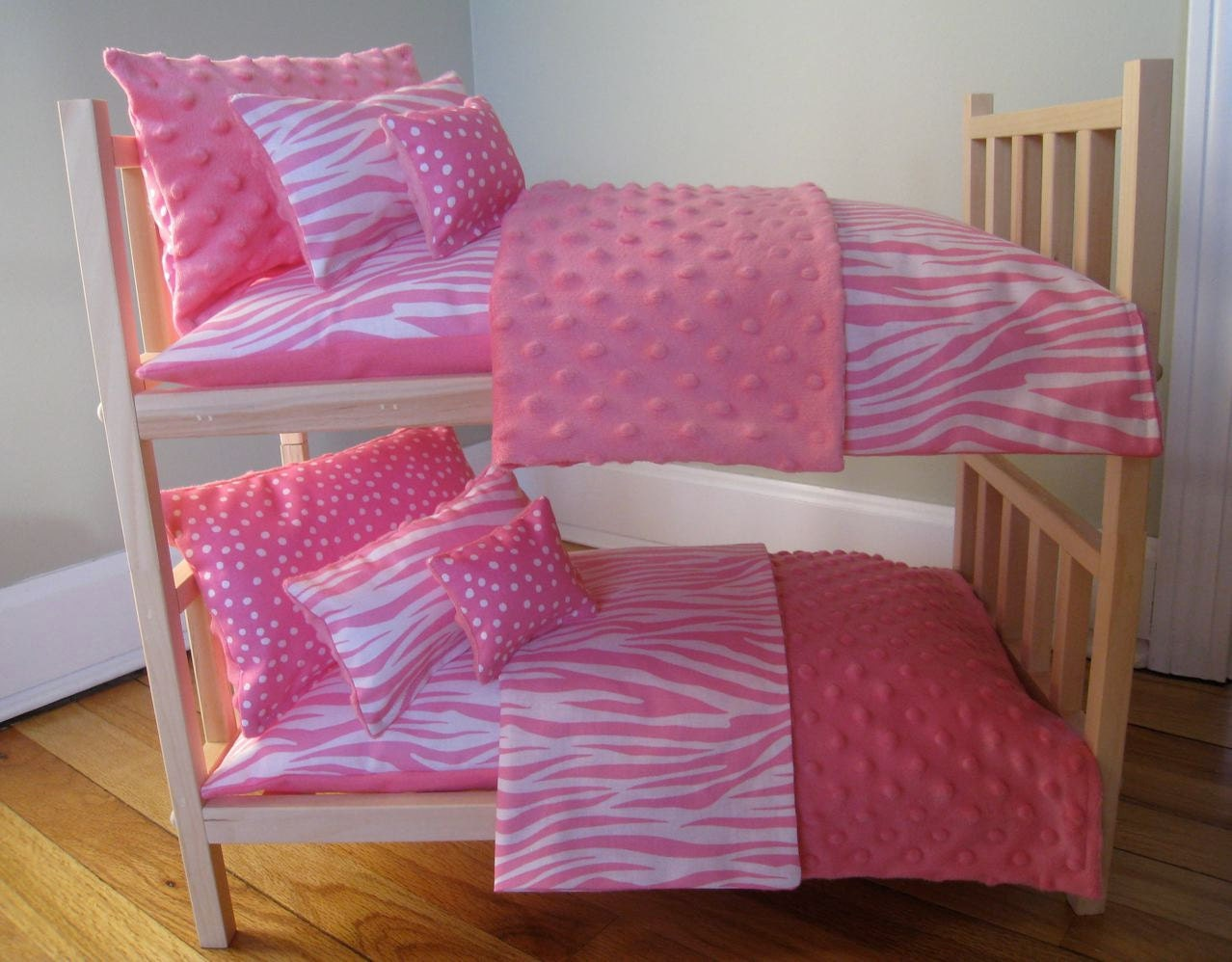 items similar to bunk bed holds 18 inch dolls breaks down to 2 single beds with pink zebra print. Black Bedroom Furniture Sets. Home Design Ideas