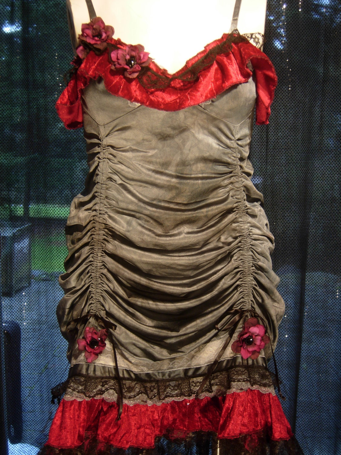 upcycled hand dyed gun metal grey slip dress adorned with rouching,hand dyed flowers,black lace and wine red velvet ruffles L-XL