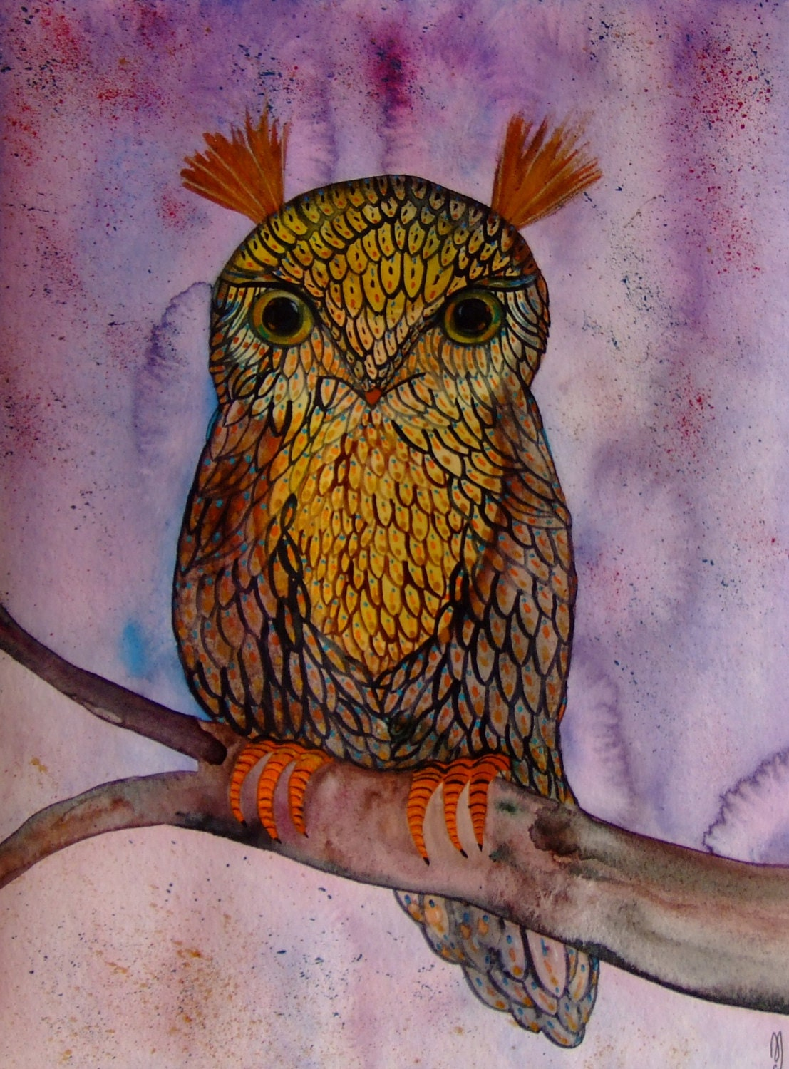 Owl Painting Watercolor Ink Bird Landscape Owl Decor Brown Purple Bird Modern Art Contemporary Art Owl Wall Art Owl Fine Art Original Bird - CelineArtGalerie