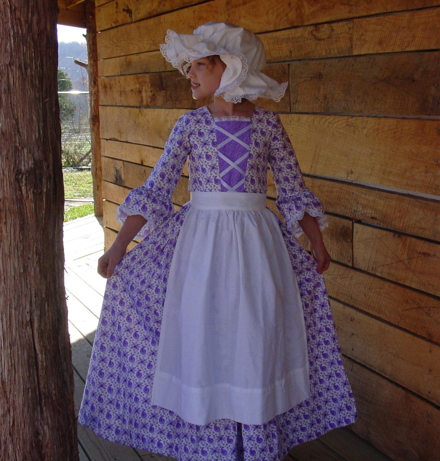 New Historical Pioneer Girl Clothing Modest Costume Colonial Day Dress