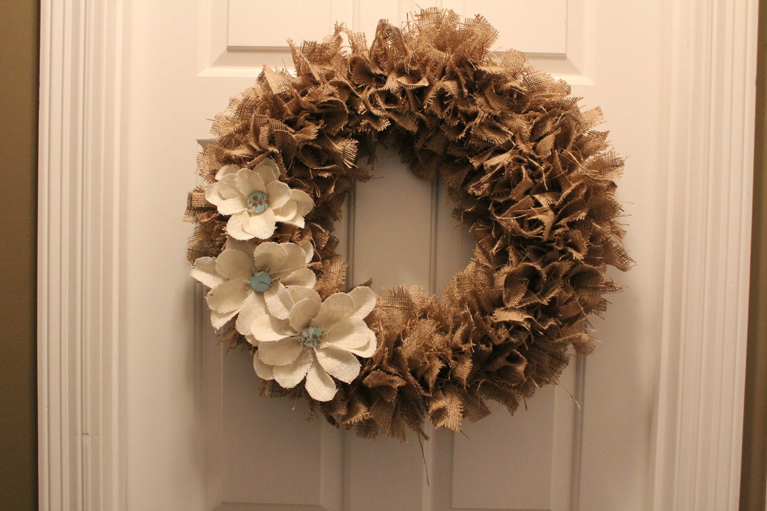 Burlap rag wreath with burlap flowers by asoutherncreation for What to make with burlap