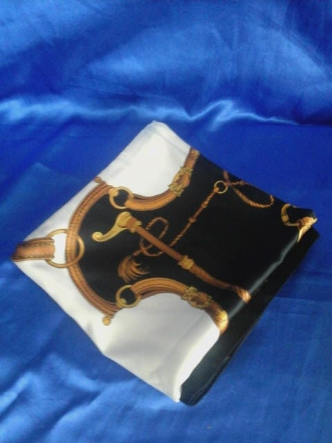 Womans Large Satin Polyester Scarf  Blue White and Gold Syrups and Whips Design