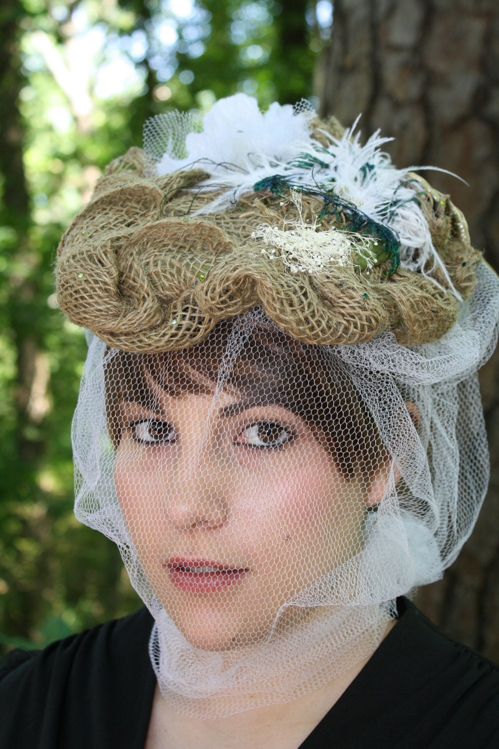 Anastasia// Boho Medieval Bride Burlap Baby's Breath Romantic Vintage Style Victorian Style Mucha Inspired Whimsical Veil