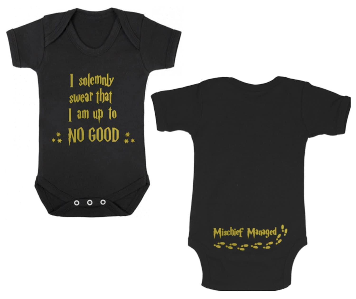HARRY POTTER       I Solemnly SwearMischief Managed BLACK Baby BodysuitBaby GrowVestOnesie Newborn Gift Shower Christening Present