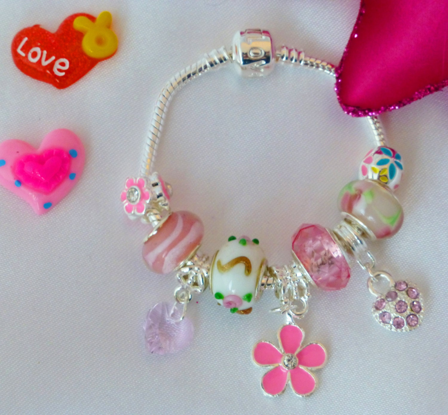 childs silver pink crystal hearts charm bracelet  Daisy Butterfly Handbag or Stelleto shoe