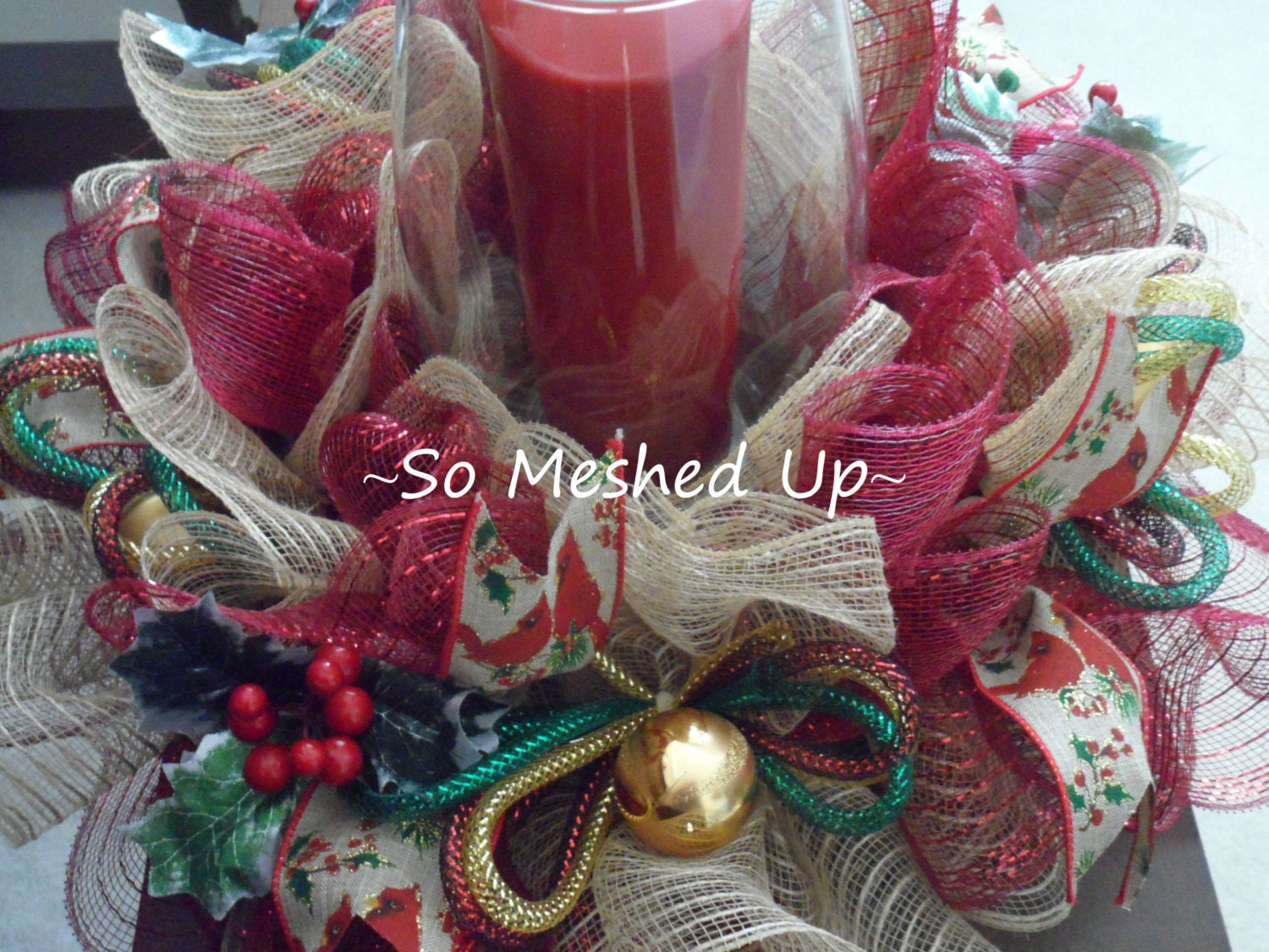 Deco mesh burlap look christmas centerpiece by someshedup