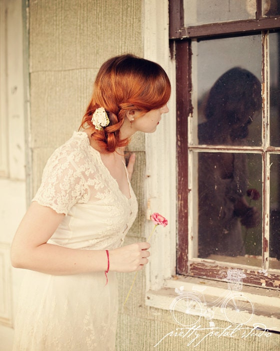 Portrait Photography, Pretty Girl Looking in a Window of an Old House, Reflection, Cream Tones, Red Head, Flowers, Fine Art, 4x6 Print