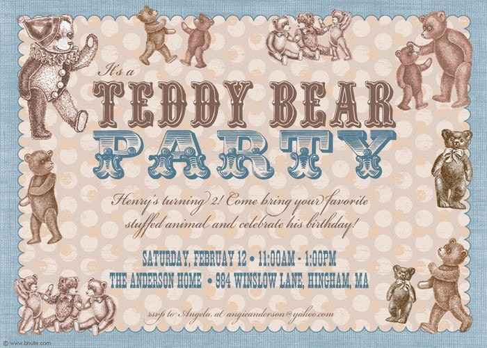 Vintage Style Teddy Bear Party Invitation (Blue or Pink)