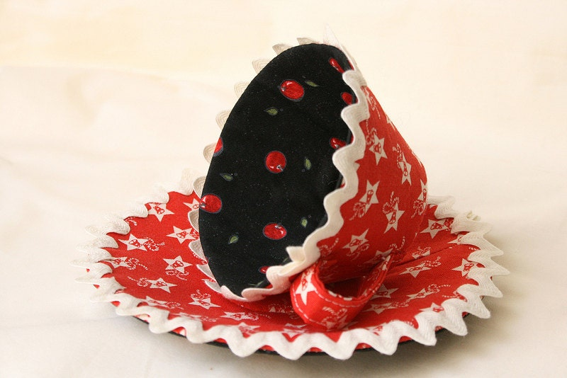 Fabric Teacup and Saucer for display, red christmas color    Reduced price   Ready to ship