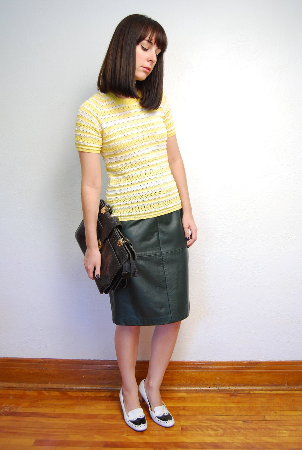 vintage 1980s green leather skirt pencil by yeye