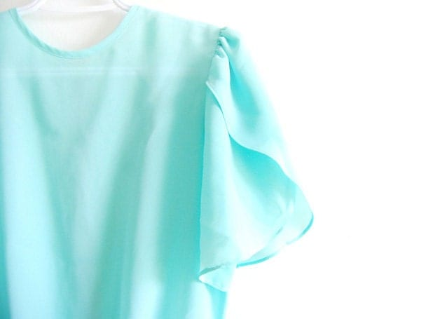 Vintage Sheer Aqua Petal Sleeve Blouse