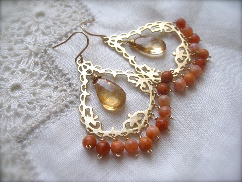Gemstone Chandelier Earrings, Orange  Earrings, Agate and quartz Chandelier, Filigree Earrings, Gold Earrings - SMVdesigns