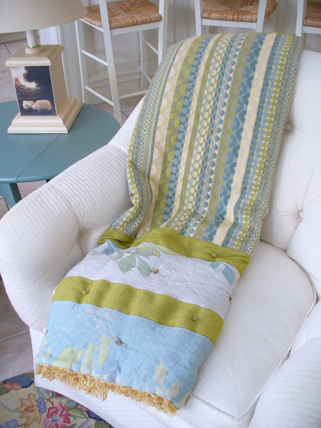 Adult Blankie Throw in Teal and Lime