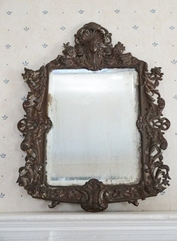 Antique Cast Iron Framed Mirror Bradley Hubbard By