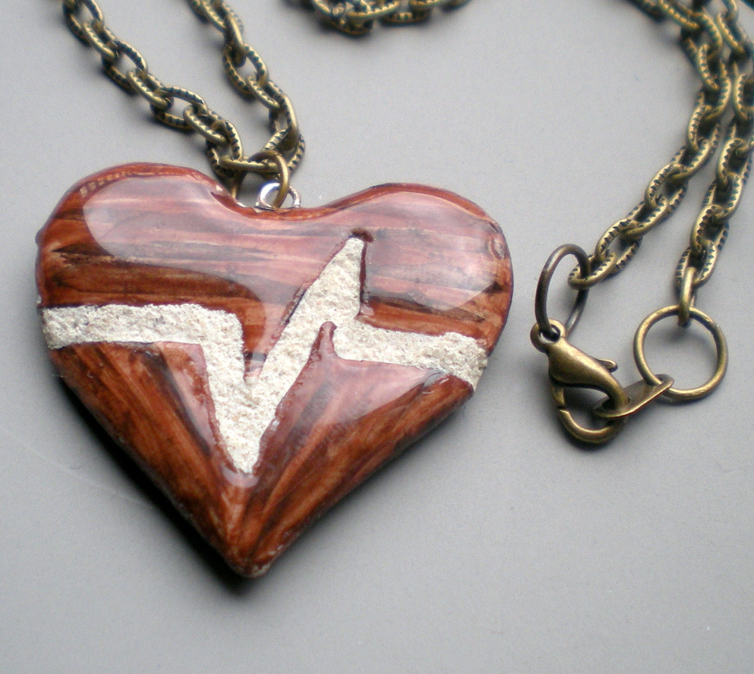 Heart Necklace :Beating Heart Mosaic Tile Reversible Necklace