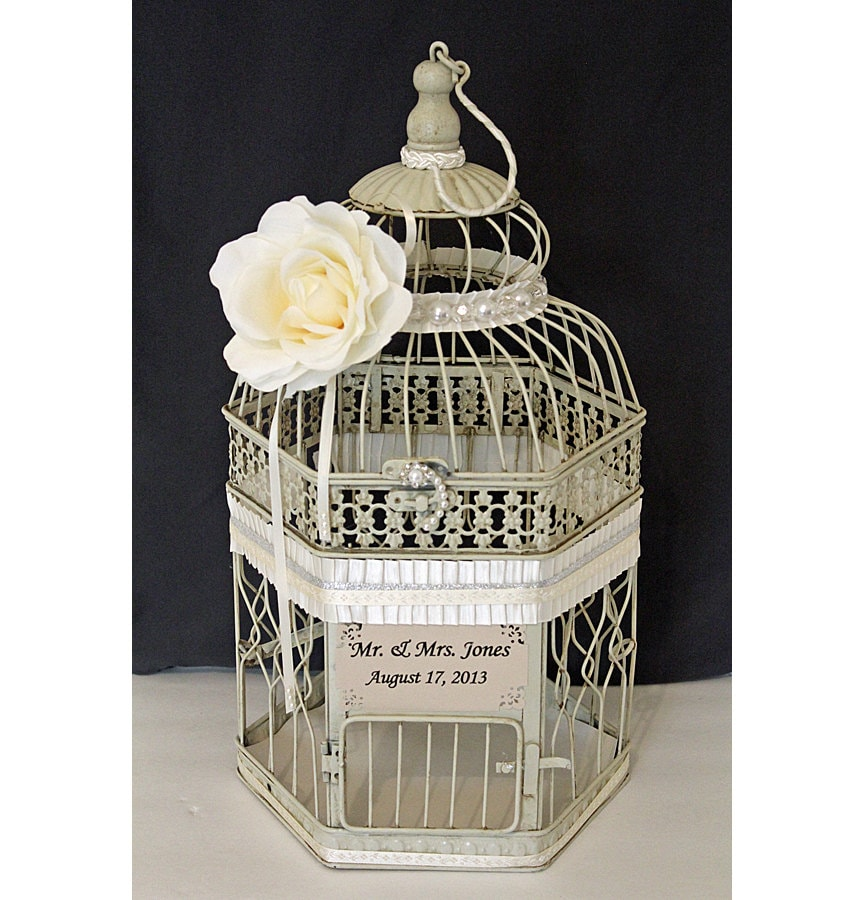 Birdcage Wedding Card Holder: Wedding Birdcage Card Holder Vintage Ivory Pearl By