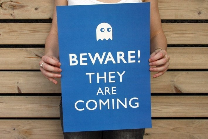 20% OFF: Beware, They Are Coming A3 Poster- Pac-Man Ghost- Sapphire Blue, Geekery Teens Gift - petekdesign
