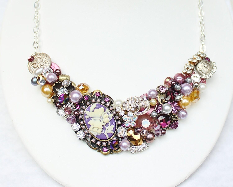 Plum Statement Necklace- Purple Bib Necklace-Cameo Necklace- Statement Jewelry- Purple Jewelry-Plum flower Bib