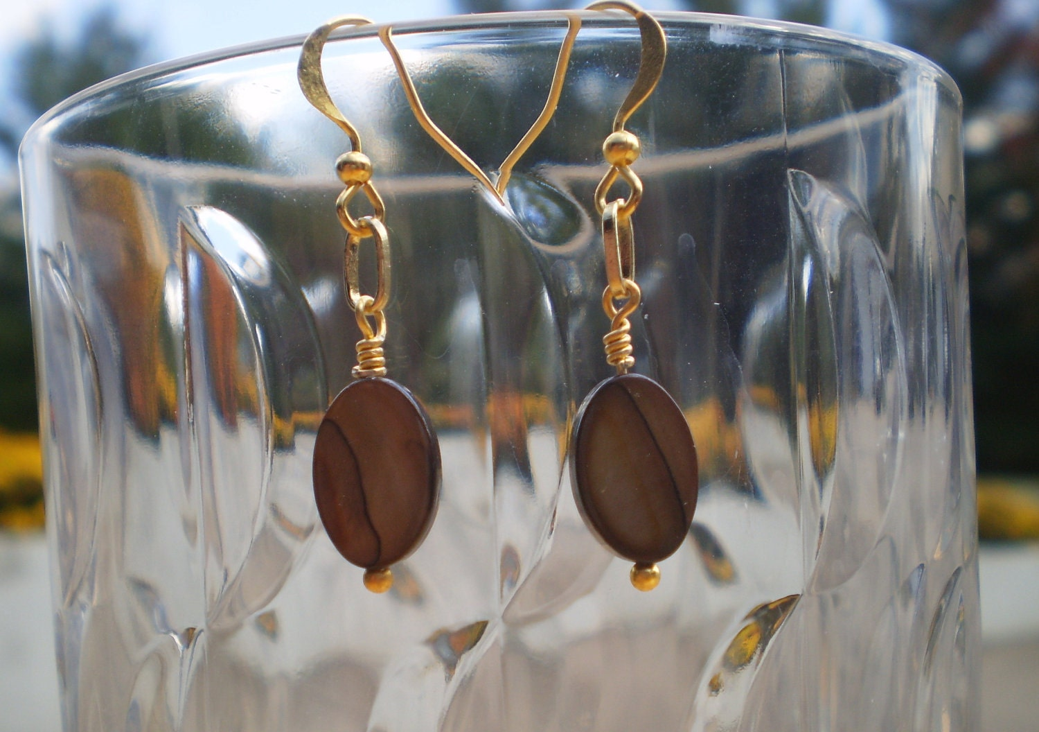 Beaded Brown Shell bead earrings with gold ear wires